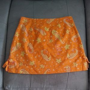 Lilly Pulitzer orange seahorse mini skirt 4
